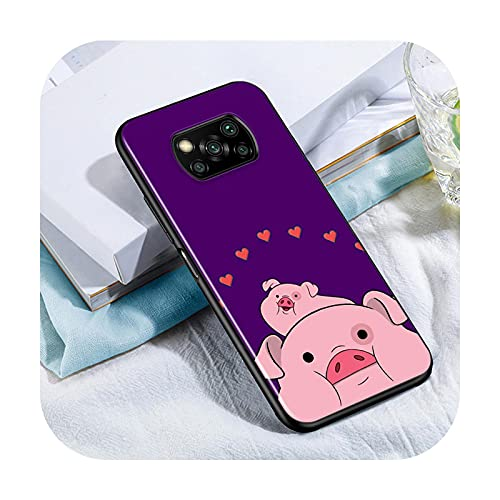 Phone cover Lindo Kawai Pig Para Xiaomi Poco X3 Nfc M3 M2 X2 F3 F2 Pro C3 F1 Mi Play Mix 3 A2 A1 6X 5X Negro Teléfono Case Style 01-Para Xiaomi Poco X3 Nfc