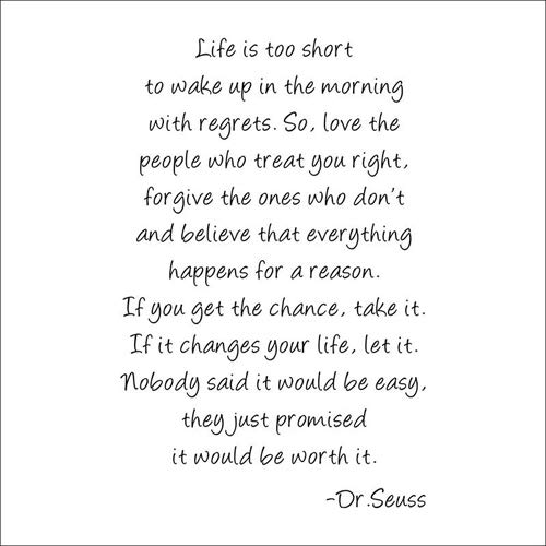 BooDecal Dr Seuss Series Inspirational Quote Wall Decals Life is Too Short to Wake up in The Morning with Regrets Wall Stickers Decals 24 Inches x 35 Inches