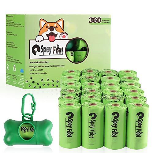 spey_foot Kotbeutel für Hunde 360 Stück mit gratis Spender auslaufsichere Extra dick und reißfest 24 Rolle