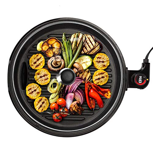 """Elite Gourmet 12"""" Deluxe Indoor Grill with Tempered Glass Lid, Stainless Steel"""