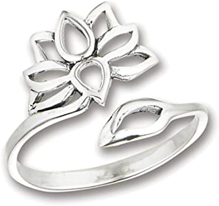 Open Adjustable Lotus Flower Thumb Ring New .925 Sterling Silver Band Sizes 5-9