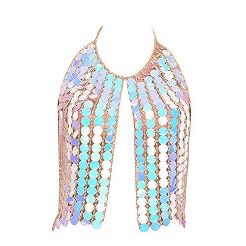 Damen Accessoires Kette Durchbrochen Pailletten Körperkette Brustkette Pool Bikini, seeblau, One size