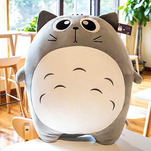 WYSTLDR Linda Almohada de muñeca My Neighbor Totoro, Regalo de cumpleaños para niños, Linda decoración de Cama de Juguete de Felpa, Lindo Ojo Negro 28cm