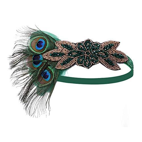 BOER 1920s Stirnband - Damen Haarreif Gatsby Kostüm Accessoires Retro 20er Jahre Flapper Feder Haarband Kopfschmuck (Stirnband C)