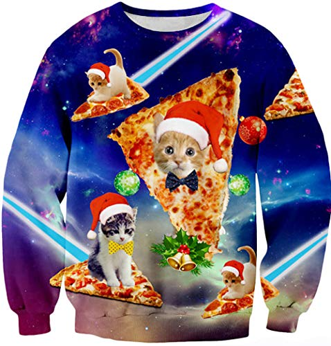 Leapparel Men/Women Ugly Christmas Sweater 3D Print Pullover Funny Graphic Sweatshirts, Pizza Cat, US L/Asian Tag XL
