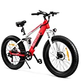 POLESITTER Electric Bike, Full Suspension Snow Mountain Beach Bicycle, 26 Inch Fat Tire, 500 Watt Motor, LCD Speedometer, LED Lights, White Red Color Ebike for Adults