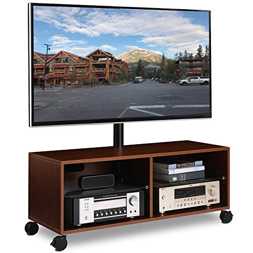 Rfiver Swivel Wood TV Stand on Wheels with Mount for 32-65 inch Flat Screen TVs, Rolling Entertainment Center with 4-Shelf Storage for Media Console, Universal Floor TV Stand Cabinet for Home, Walnut