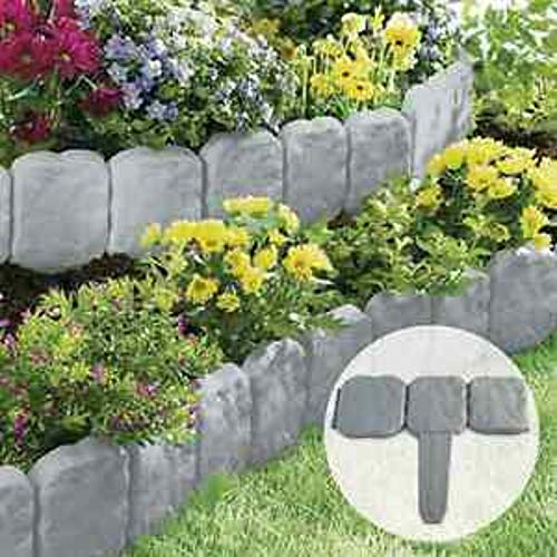 Ram20 x Pack Dark Grey Cobbled Stone Effect Garden Lawn Edging Plant Border - Simply Hammer In 10 Pack Dark Grey Cobbled Stone Effect Garden Lawn Edging Plant Border - Simply Hammer In 5 Meter