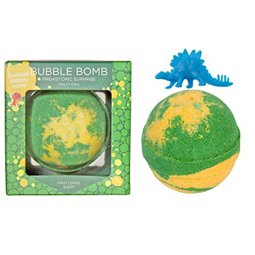 Dinosaur Bubble Bath Bomb for Kids with Surprise Toy Squishy Dinosaur Inside by Two Sisters Spa. Large 99% Natural Fizzy in Gift Box. Moisturizes Dry Sensitive Skin. Releases Color, Scent, and Bubbles