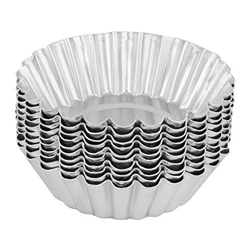 Taartvormen, aluminiummatrijzen, 10 stuks aluminiumeieren taartvorm bakgereedschap voor taarten 70 mm bakvormen keuken gebak gereedschap