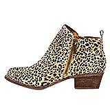 Minetom Mujer Botas De Chelsea Botines Invierno Otoño Moda Cremallera Elegante Tacón Ancho Bajo Tacones Casual Ankle Boots Leopardo EU 39