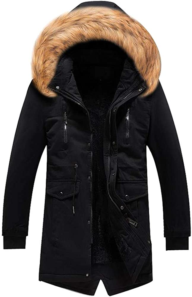 MODOQO Men's Long Zipper Hoodies Jacket Cotton Fleece Lined Plus Size Parka Coat