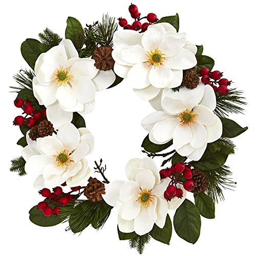 "Nearly Natural 26"" Magnolia, Pine and Berries Wreath, White"