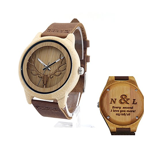 Engraved Carved Accessories Mens Wooden Watch Custom Engraved Leather, Groomsmen Gift