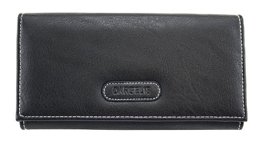 DARGELIS Damen Portemonnaie Geldbörse Börse groß Leder opt. schwarz