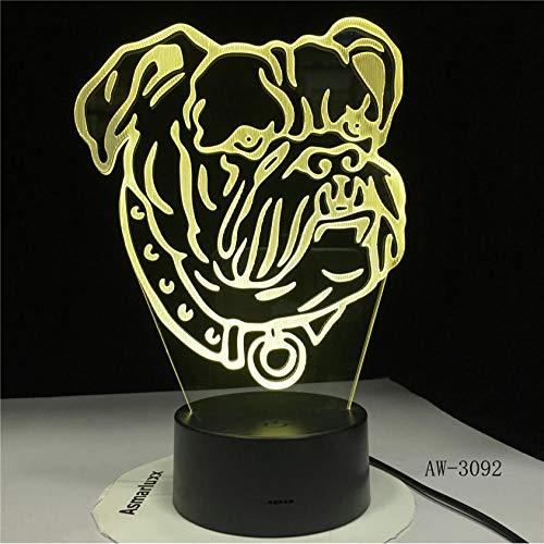 Ganjue Lampe 3D Illusion Lampe 3D Pour Chien De Compagnie Lampe Bull Terrier Led Veilleuse Décorative Lampe De Table Enfants Cadeau De Bébé