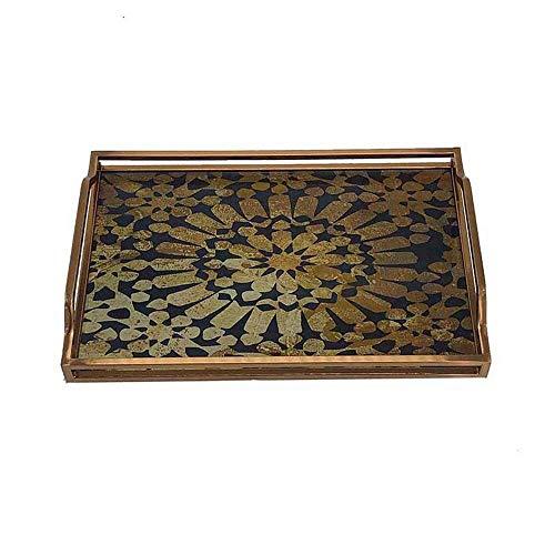 Bandeja decorativa de metal de vidrio templado para café, té, cena, fiesta, gran centro de mesa cuadrada de espejo de vanidad, diseño único (color: C, tamaño: 38 x 25,5 x 3 cm) AA