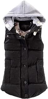 Women's Regular-Fit Sleeveless Button Zipper Pocket Hooded Jacket Down Vest