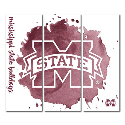 Victory Tailgate Mississippi State University Bulldogs Triptych Canvas Wall Art Watercolor (48x54 inches) image