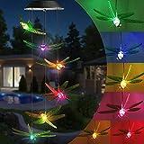 Qedertek Windspiele für Draußen, Solarleuchten LED Mobile Windspiele Farbwechsel, Solarbetriebene Gartenlampe Hängeleuchte für Garten Hof Rasen Hinterhöfe Wege Party Sommer Deko (Libelle)