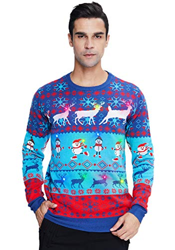 Mens Light Up Christmas Sweater Womens Ugly Led Xmas Blue Sweater Snowman Office Ugliest Reindeer LEDs Funny Elf Tacky Jumper Pullover for Teenager Girls Boys Gift