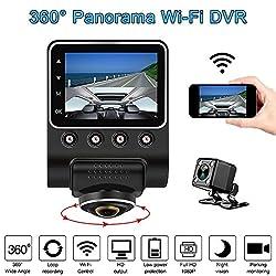 KKmoon Dash Cam 1080 P 2,5 360 Degree Panoramic WiFi Car Camera Full View HD Car DVR Recorder Hidden Camcorder Dash Cam Night Vision Fisheye len