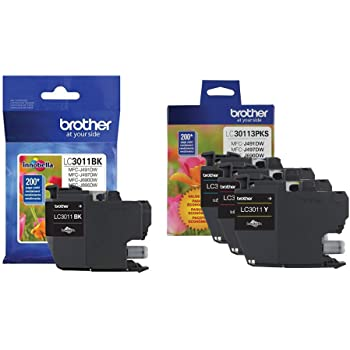 Brother Genuine LC3011BK, LC30113PKS Standard Yield Black/Cyan/Magenta/Yellow Ink Cartridge Set, LC3011