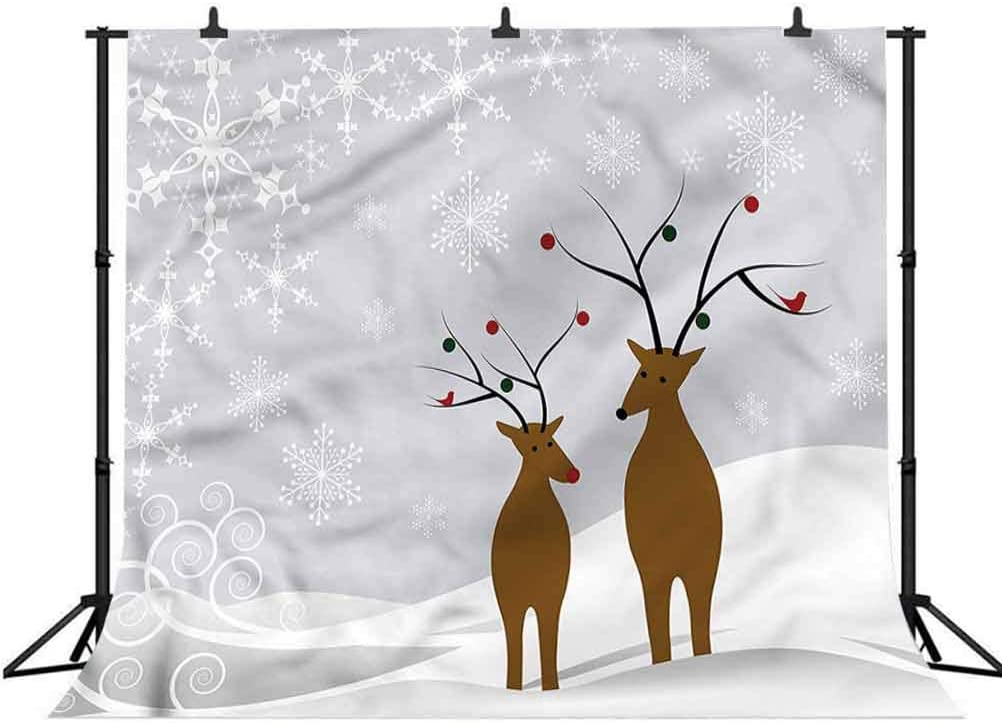 7x7FT Vinyl Photo Backdrops,Christmas,Cute Reindeers Noel Background for Selfie Birthday Party Pictures Photo Booth Shoot
