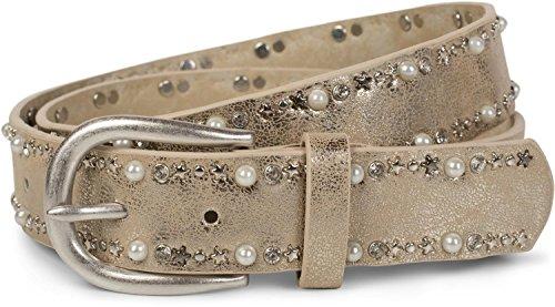 styleBREAKER Gürtel mit Perlen, Strass und Stern Nieten, Nietengürtel, kürzbar, Damen 03010087, Größe:95cm, Farbe:Antik-Gold