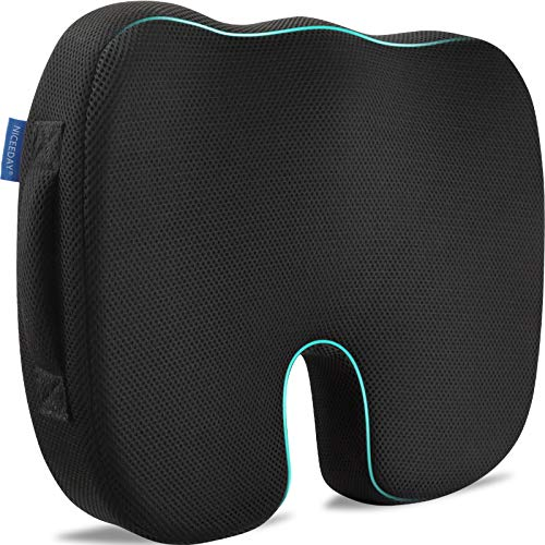 Memory Foam Car Office Seat Cushion for Coccyx with Removable Sciatica Seat Cushion Covers, Updated 3D Breathable Orthopedic Seat Cushion, Tailbone Pain Relief Cushion Wheelchair Car Office Home