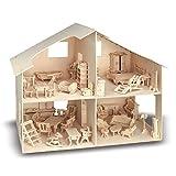 WITTKOWARE Holzbausatz Puppenhaus mit Möbel, 40cm, 252 Teile