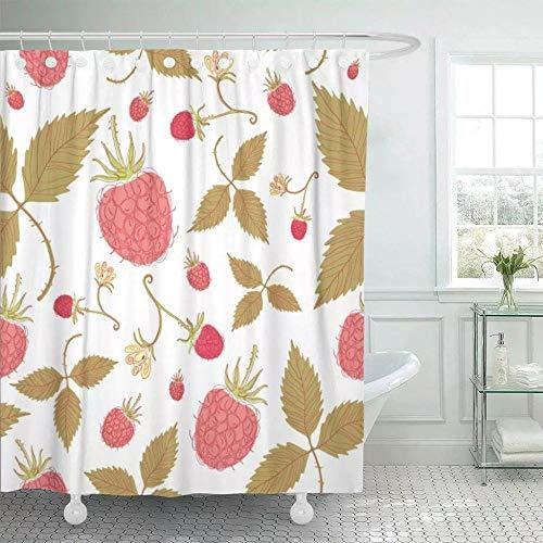 vgfjjuhn Badezimmer Dekor Duschvorhang Rotes Essen Einfache Erdbeer Beere Farbe Dessert Frisches Obst Grafik Ges&es Badezimmer Dekor-B150cmxH180cm