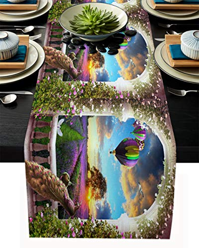 Camino de mesa de arpillera de lino, bufandas de 45,7 x 182,8 cm, lavanda de pavo real y flores en el atardecer, caminos de mesa para fiestas de vacaciones, comedor, cocina, decoración de boda