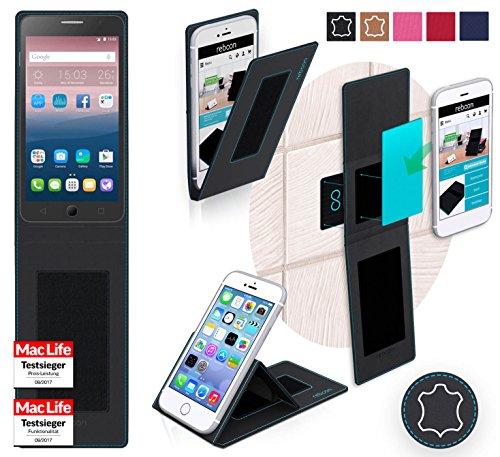 Hülle für Alcatel OneTouch Pop Star 4G Tasche Cover Hülle Bumper | Schwarz Leder | Testsieger