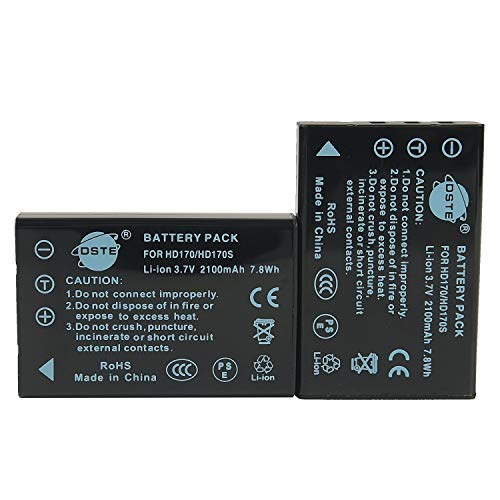 DSTE 2x HD170 Rechargeable Li-ion Battery Compatible for Drift DSTBAT Standard Battery, Drift HD, HD170S, HD170 Stealth, HD720 Digital Camera
