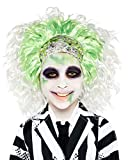 Childs Boys Girls Crazy White Green Beetlejuice Wig Ghost Halloween Fancy Dress Costume Outfit Accessory
