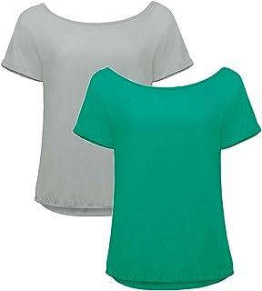 B&C Womens Off Shoulder T-Shirts (2 Pack Bundle) Cotton Jersey Summer Top