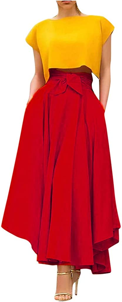 DFGJ Women High Waist Long Skirt Fashion Spring Summer Casual Bow Tie Solid Color Long Skirts