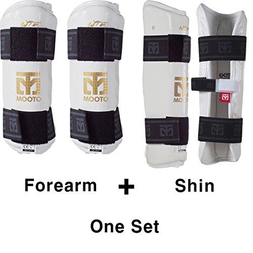 MOOTO Korea Taekwondo Extera Protector Forearm & Shin One Set White TKD Martial Arts Protection Gear (M(Forearm+Shin))