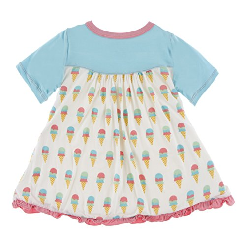 Product Image of the KicKee Pants Little Girls Print Classic Short Sleeve Swing Dress, Natural Ice...
