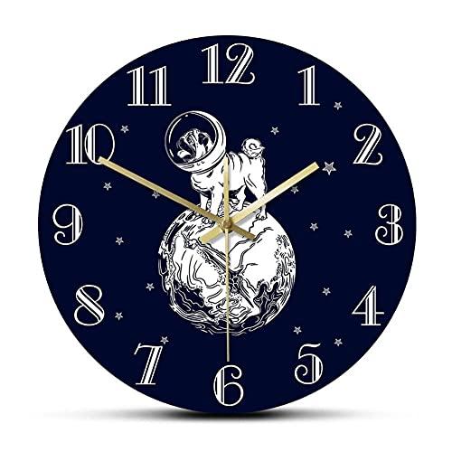 El Pug Astronauta Reloj de Pared de Dibujos Animados Cielo Estrellado Espacio Perro Animal Divertido Cachorro Perro Reloj de Pared Guardería Habitación de niños Reloj de Pared silencioso-No_Fr