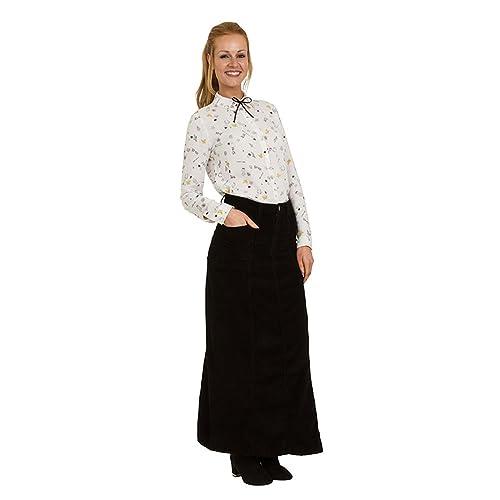 8df6fd5c7a02e Uskees Lisa Long Corduroy Skirt - Black Full Length Maxi Cord Skirt UK  Sizes10 t LISACORDBLK