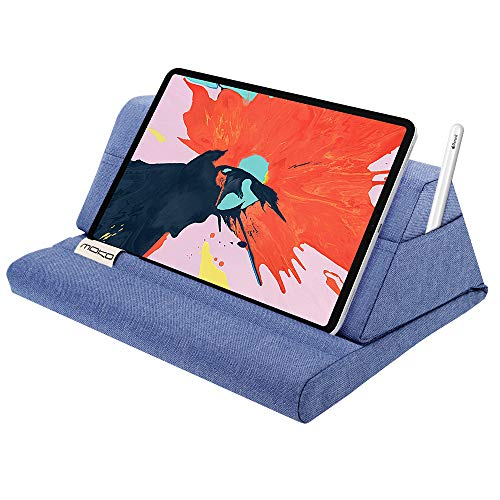 MoKo Soporte de Almohada Compatible con New iPad Air 3rd Gen, iPad Mini 5th Gen, iPad Pro 11, iPad 10.2' 2019, Soporte de Almohadas de Tableta hasta 11' para Samsung Galaxy Tab - Denim Azul