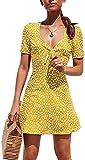 Mini Vestido de Verano para Mujer Elegante Vestido de Cóctel Casual de A Línea con Estampado Floral de Manga Corta con Cuello en V (Amarillo, XL)