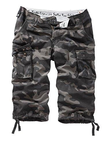 Surplus Raw Vintage Herren Cargo Trooper Legend 3/4 Shorts, blackcamo, 5XL