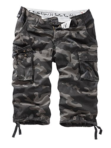 Surplus Raw Vintage Herren Cargo Trooper Legend 3/4 Shorts, blackcamo, 4XL