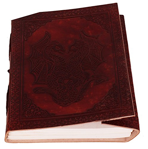 Paarse lederen dagboek/dagboek/notitieboek dansende draken voor zakelijk cadeau of persoonlijke memoires (lj04)
