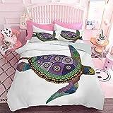Ropa de cama con estampado 3D de tortuga marina con coloridos tatuajes de estilo ornamental en obras de arte animal (3 unidades, tamaño king extragrande) edredón y dos fundas de almohada