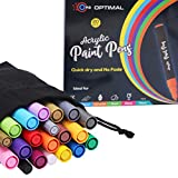 Acrylic Paint Markers - Set of 20 Markers - 16 x Medium Tip Marker & 4 x Fine Tip Pen - Reversible Tip Paint Pens For Rocks Painting , Wood, Glass, Canvas, Fabric, Ceramic, Mugs, Porcelain - For Adults and kids