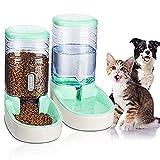 Dispensador de pienso y agua, 3,8 l, 2 piezas, comedero y bebidas, cuenco automático para gato, perro, conejo (verde)